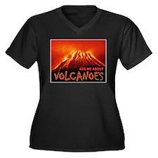 VOLCANOES Women's Plus Size V-Neck Dark T-Shirt