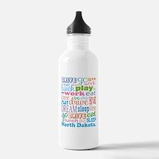 live dream North Dakota Water Bottle