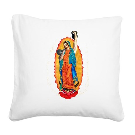 Virgin with Kettlebells Square Canvas Pillow