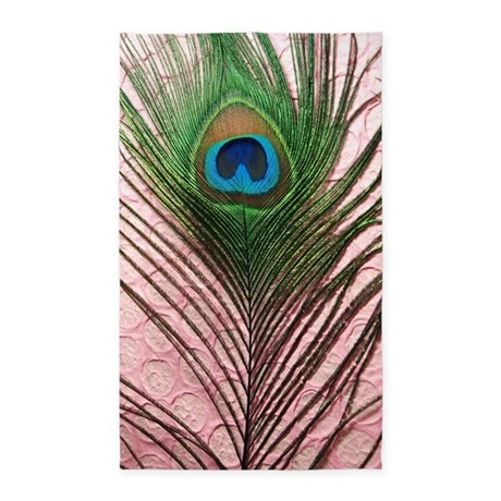 Light Pink Peacock Feather 3'x5' Area Rug