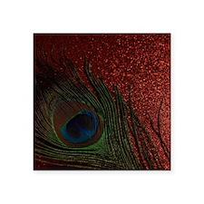 """Glittery Red Peacock Square Sticker 3"""" x 3"""""""