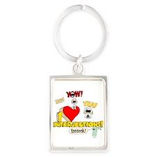 I Heart Interjections Portrait Keychain