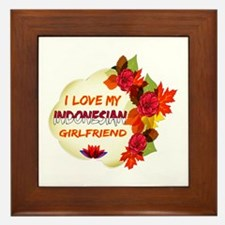 Indonesian Girlfriend Valentine design Framed Tile