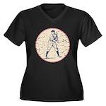 Baseball Player Women's Plus Size V-Neck Dark T-Sh