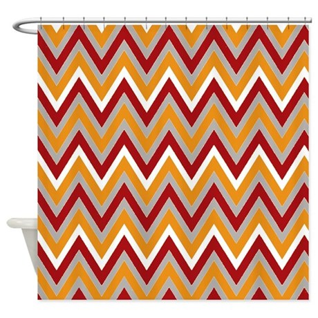 Modern Earth Tone Chevron Shower Curtain By Chevroncitystripes