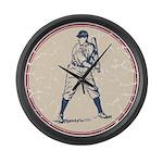 Baseball Player Large Wall Clock