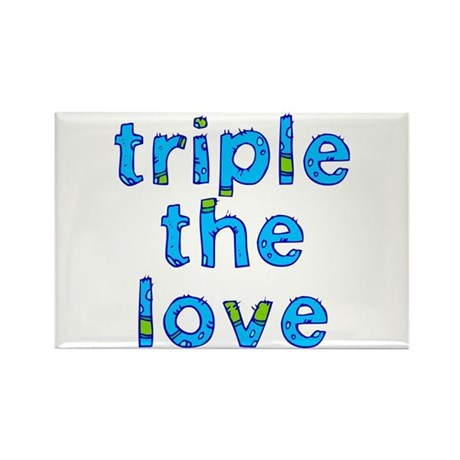 triple the love Rectangle Magnet