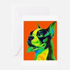 Vintage Boston Terrier Close-Up Greeting Card