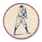 Baseball Player Round Car Magnet