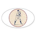Baseball Player Sticker (Oval 10 pk)