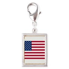 American Flag Silver Portrait Charm
