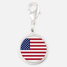 American Flag Silver Round Charm