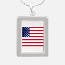 American Flag Silver Portrait Necklace