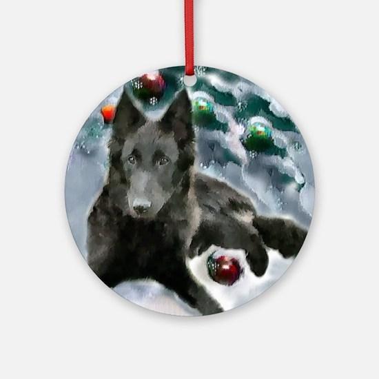 Belgian Sheepdog Christmas Round Ornament