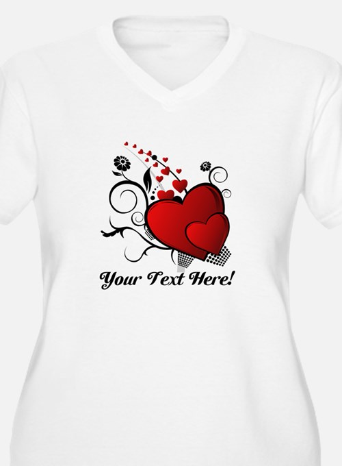 Personalized Red/Black Hearts T-Shirt
