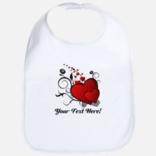 Personalized Red/Black Hearts Bib