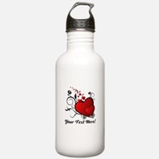 Personalized Red/Black Hearts Water Bottle
