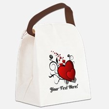 Personalized Red/Black Hearts Canvas Lunch Bag