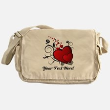 Personalized Red/Black Hearts Messenger Bag