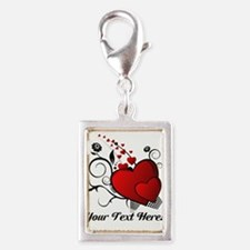Personalized Red/Black Hearts Silver Portrait Char