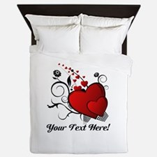 Personalized Red/Black Hearts Queen Duvet