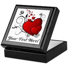 Personalized Red/Black Hearts Keepsake Box