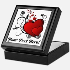 Personalized Red/Black Hearts Keepsake Box