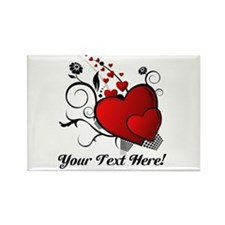 Personalized Red/Black Hearts Rectangle Magnet