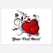 Personalized Red/Black Hearts 5x7 Flat Cards
