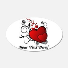 Personalized Red/Black Hearts Wall Decal
