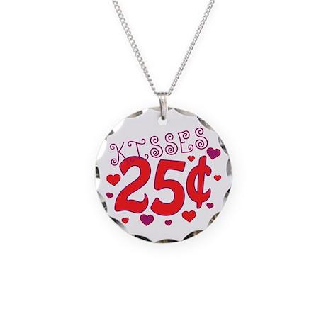 Kisses 25 cents Necklace Circle Charm