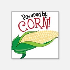 "Powered By Corn Square Sticker 3"" x 3"""