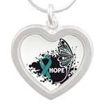 Hope Ovarian Cancer Silver Heart Necklace