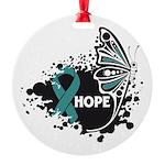 Hope Ovarian Cancer Round Ornament