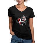 Hope Oral Cancer Women's V-Neck Dark T-Shirt