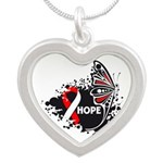 Hope Oral Cancer Silver Heart Necklace