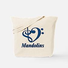 I Love Mandolins in Blue Tote Bag