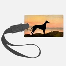 greyhound dog sunset wide.jpg Luggage Tag