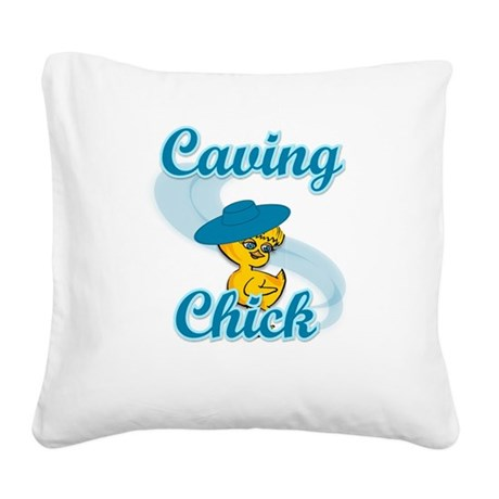 Caving Chick #3 Square Canvas Pillow