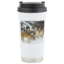 Cute Wolf black Travel Mug