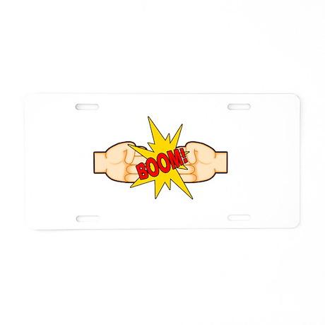 Fist Bump BOOM! Aluminum License Plate