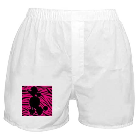 Zebra Striped Pink and Black Poodle Boxer Shorts