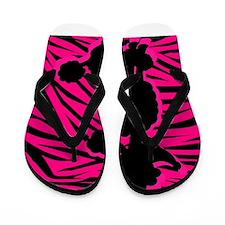 Zebra Striped Pink and Black Poodle Flip Flops