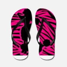 Zebra Striped Pink and Black Poodle Flip Flops