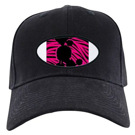 Zebra Striped Pink and Black Poodle Black Cap