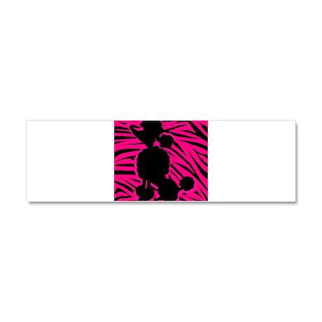 Zebra Striped Pink and Black Poodle Car Magnet 10