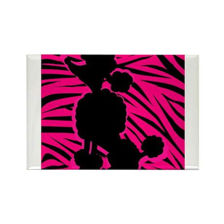 Zebra Striped Pink and Black Poodle Rectangle Magn