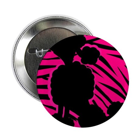 """Zebra Striped Pink and Black Poodle 2.25"""" Button ("""