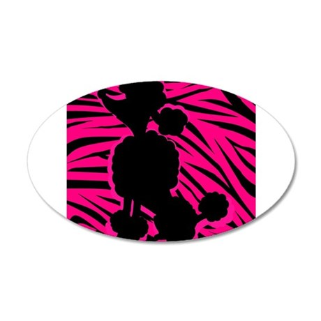 Zebra Striped Pink and Black Poodle 35x21 Oval Wal