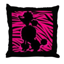 Zebra Striped Pink and Black Poodle Throw Pillow